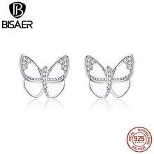 White Butterfly Earrings BISAER 925 Sterling Silver Stud Fine earrings jewelry GXE876
