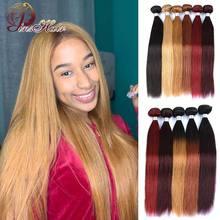 Red Bundles 1 PCS Ombre Blonde Straight Brazilian Hair Weave Bundles 100 Red Burgundy 99J Human Hair Bundles Pinshair Remy Hair
