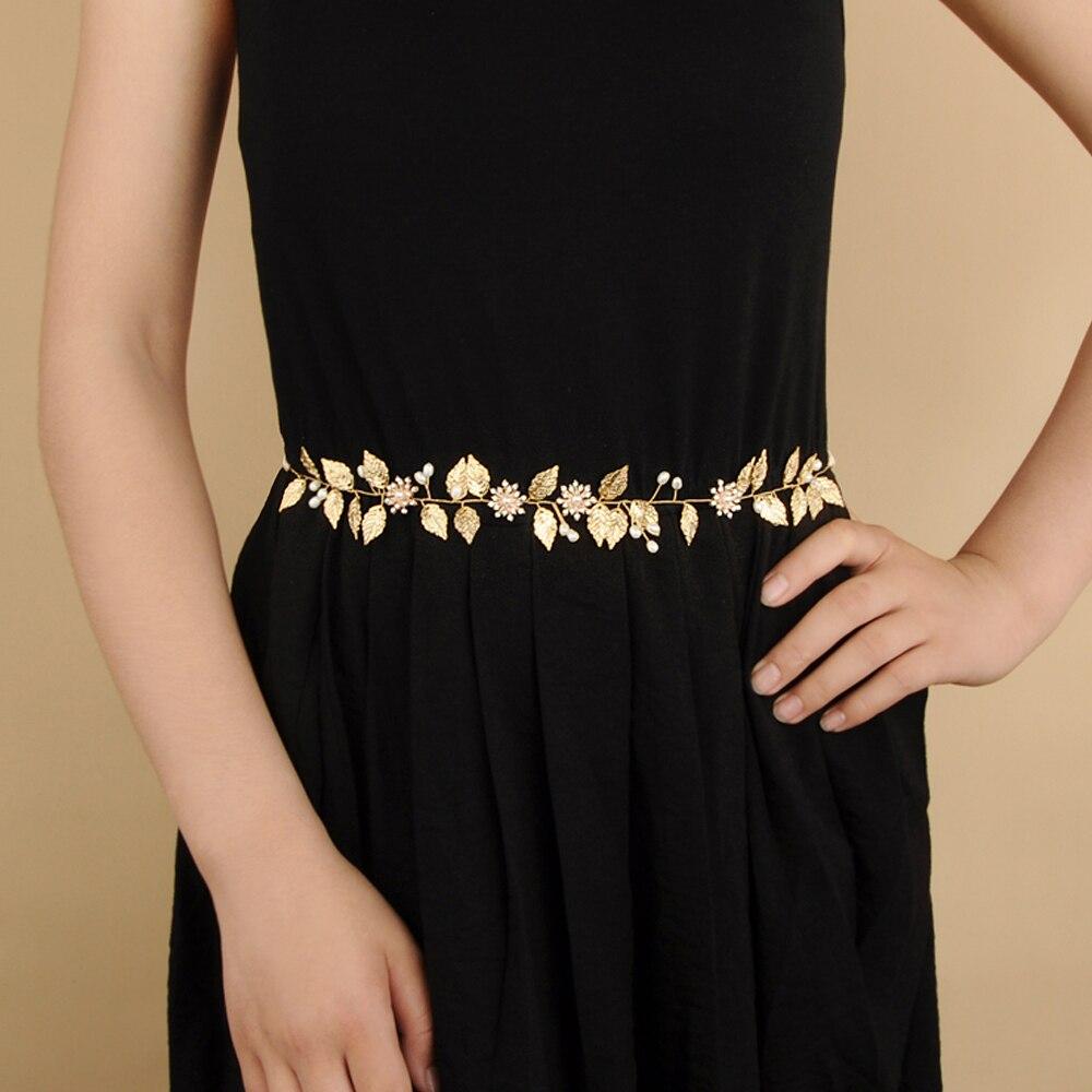 Купить с кэшбэком TRiXY SH110 Exquisite Golden Leaf Wedding Belt Sash Floral Bridal Belt Flower Rhinestone Belt for Bridal Wedding Accessories