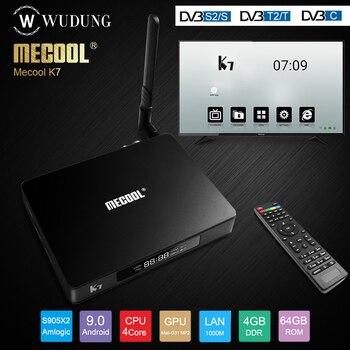 Mecool K7 Android 9.0 TV Box Amlogic S905X2 DVB-T2/S2/C Quad Core 4GB DDR4 64GB 4K 2.4G 5G WIFI 1000Mbps K7 DVB Set top Box mecool kiii pro dvb s2 dvb t2 decoder android 7 1 tv box 3gb 16gb amlogic s912 octa core k3 pro 4k combo newcamd hybrid tv box