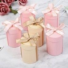 Новинка, Цилиндрическая Коробка для конфет для шоколада, свадебные сувениры и подарочные коробки для свадебного украшения, подарочные пакеты для детского душа, вечерние принадлежности