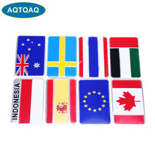 1 Pcs 3D Aluminum Alloy Italy Germany France Russia Australia England Switzerland Spain Map National Flags Car Sticker Car Styli