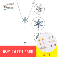 new arrival 925 Sterling Silver Chain Fashion Jewelry Blue CZ Snowflake Long Necklaces & Pendants For Women Accessories gifts недорого
