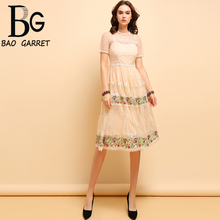 Baogarret Summer Fashion Dress Womens Short Sleeve Mesh Flower Embroidery High Waist Sweet Casual Holiday Midi Dresses