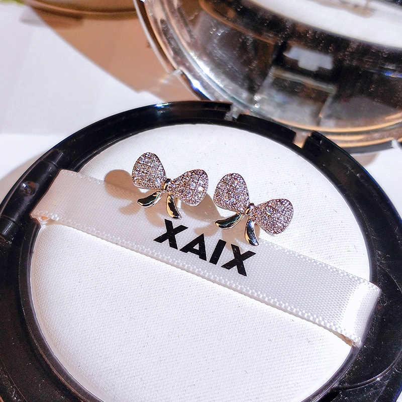 2020 New Sterling Silver Color Cute Bowknot Stud Earrings with Bling Zircon Stone Fashion Jewelry Korean Earrings