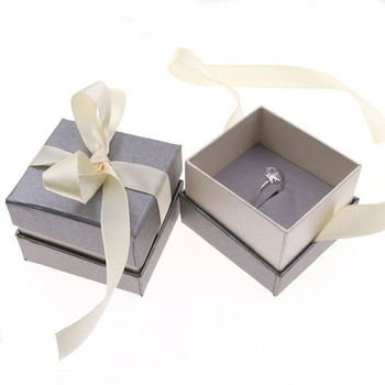 Gift Box Jewellery Organizer Ribbon Ring Paper Box 80pcs/lot Customized Ribbon Jewelry Packaging for Earring Ring Display Cases
