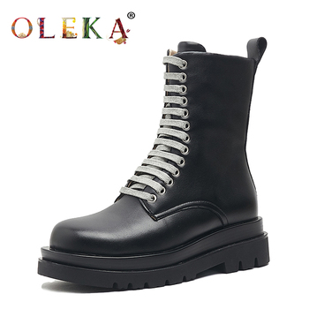 OLEKA Mid-calf Winter Leather Boots Women Platform Rome Round Toe   Womans Boots Leisure Style Motorcycle Boots  New  AS613 girls boots new kids winter shoes uovo brand flat heel leather mid calf national style eu26 39 chaussures fille enfants bottes