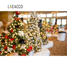 Laeacco Photographic Backgrounds Christmas Tree Decor Polka Light Bokeh Portrait Interior Photography Backdrops For Photo Studio