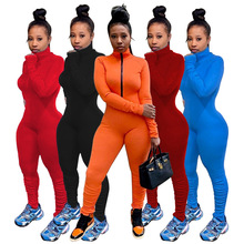 2021 New Arrival Jumpsuit Women Elastic Hight Fitness Rompers Long Sleeve High Necked Zipper Bodysuit Activewear Stacked Outfit