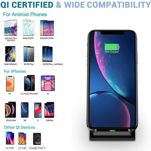 30W Qi Wireless Charger Stand For iPhone 12 11 XS XR X 8 Wireless Fast Charging Dock Station Phone Charger For Samsung S20 S10 4