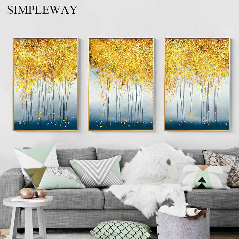 Abstract Forest Golden Leaf Art Poster Nordic Landscape Canvas Print Wall Painting Modern Style Decorative Picture Home Decor