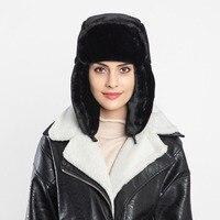 Русский Для женщин Зимняя теплая куртка-бомбер шляпы из искусственного меха одноцветные Лыжные шапки для женщин, Уличная обувь, теплые шляп...