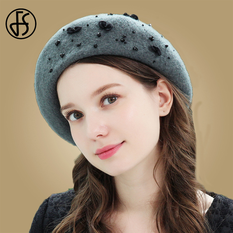 FS French Beret Wool Hats Women Winter Solid Color Warm Cap  Autumn Hat For Ladies Girls Flat Cap Hat Felt Berets