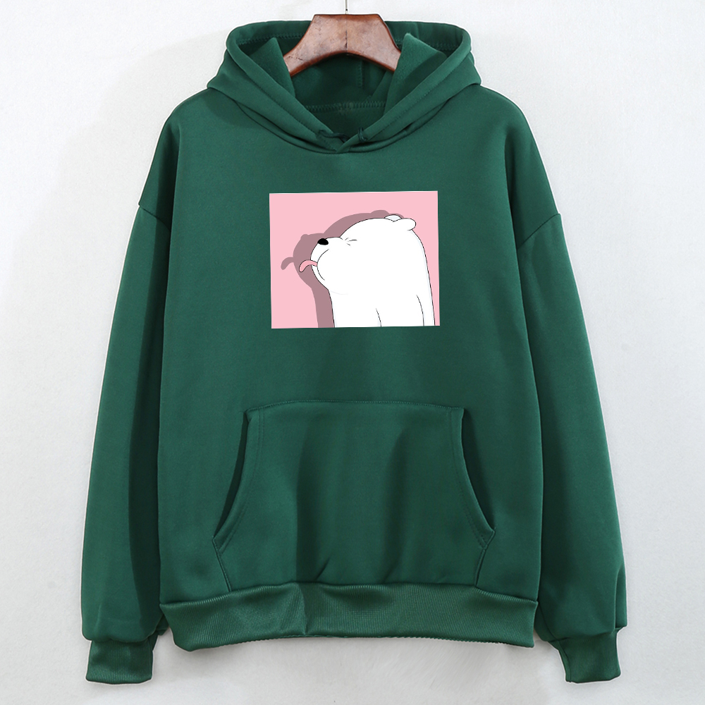 Winter Korean Womens Hoodie Tops Kawaii Womens Graphic Sweatshirt Cute Pullover Feminino Thick For Girls Funny Bear Printing