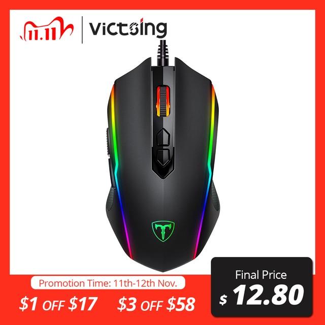 VicTsing ratón para videojuegos RGB, 8 Botones programables, 7200 DPI, ajustable, óptico, con cable, con botón de disparo, para PC