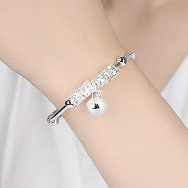 QrhYK Women Jewelry Silver Plated Cuff Bracelet Charm Bangle Gift Good Luck Beads Flower Pattern Bell Bracelet Girls 1PC