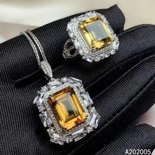 KJJEAXCMY Fine Jewelry 925 sterling silver inlaid Citrine female gemstone ring pendant set trendy [meibapj natural aquamarine gemstone trendy ring for women real 925 sterling silver charm fine jewelry