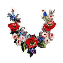 New Arrival 1pc Beautiful Red Rose Flower Floral Collar Sew Patch Applique Badge Embroidery Dress Handmade Craft Ornament Fabric