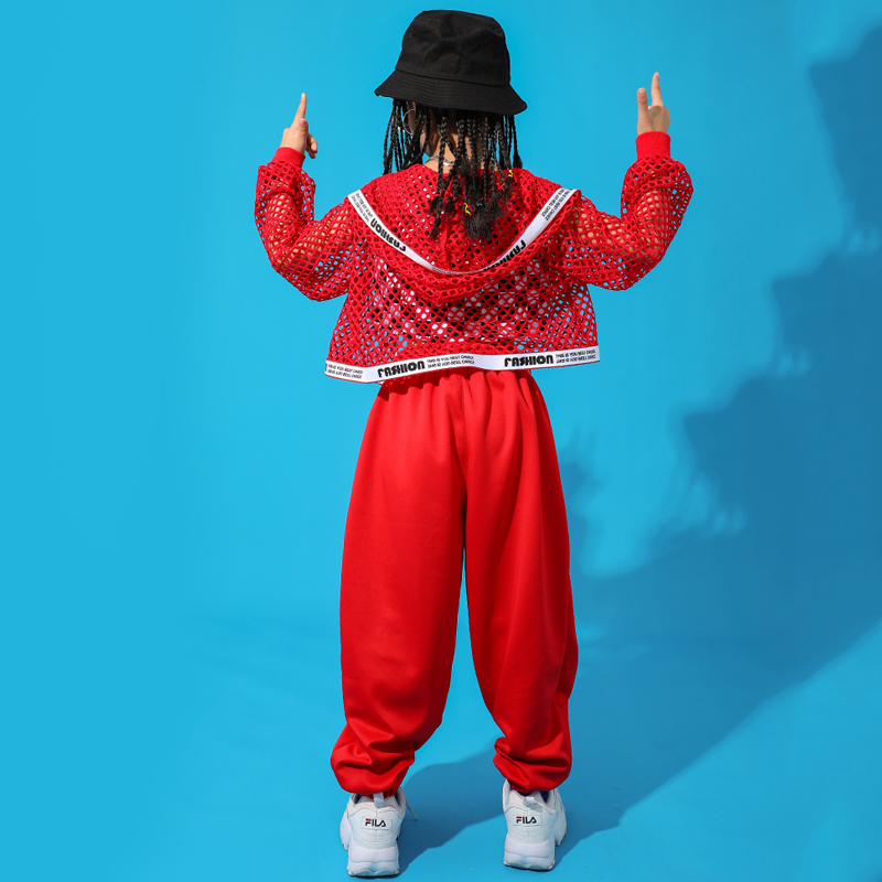 Red-Hip-Hop-Dance-Costume-Kids-Jazz-Dance-Clothing-Girls-Suit-Vest-Coat-Pant-New-Performance (3)