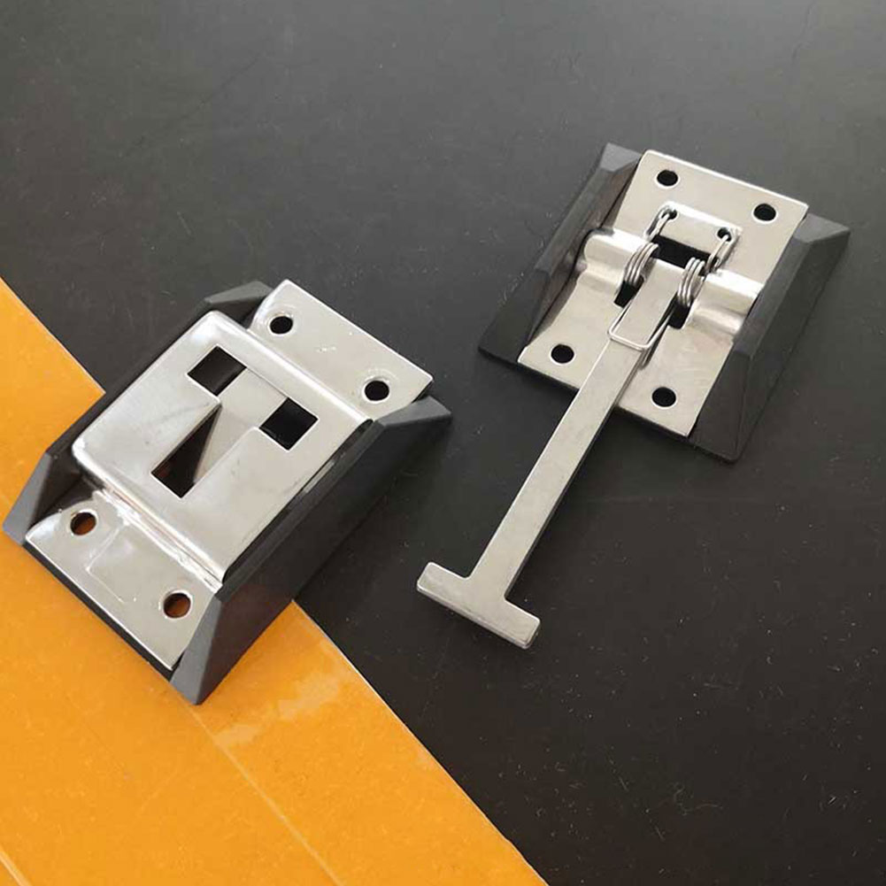 Trailer Truck Door Hook Stainless Steel Durable Protective T Shaped Buckle With Bracket Positioning Polished Accessories RV