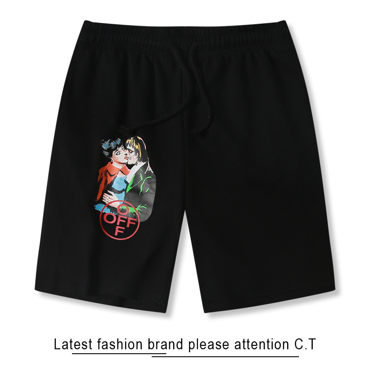 Ow Popular Brand Off White High Quality 2019 Summer Zombie Kiss Of Men And Women Celebrity Style Couples Pure Cotton Shorts