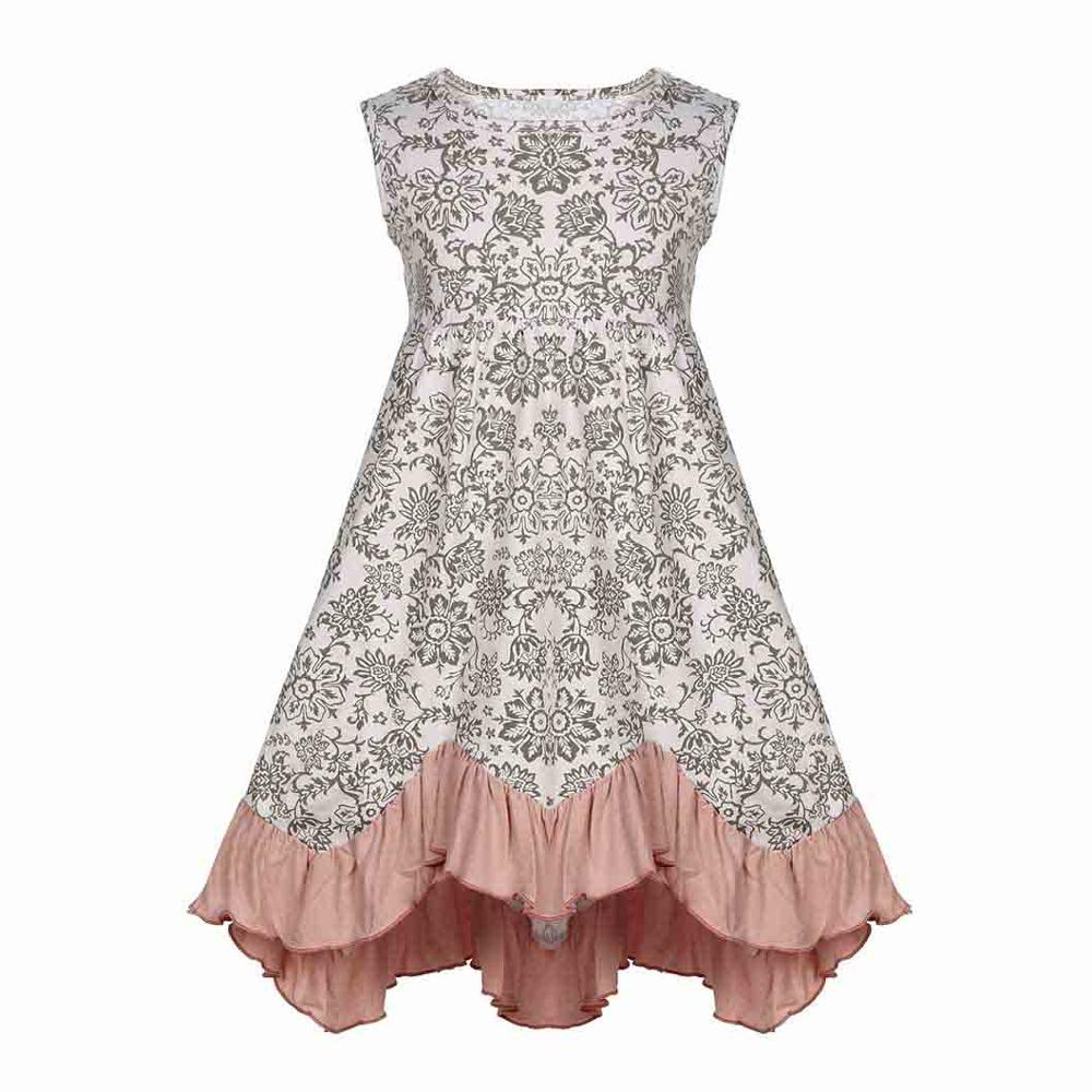 Kids Girls Ruffles Summer Cotton Dress Candy Color Floral Print Knee Length Fashion Twirly Dress