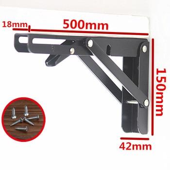 2PCS, 8-20Inch Black Triangle Folding Angle Bracket Adjustable Wall Mounted Durable Bearing Shelf Bracket DIY Home Table Bench