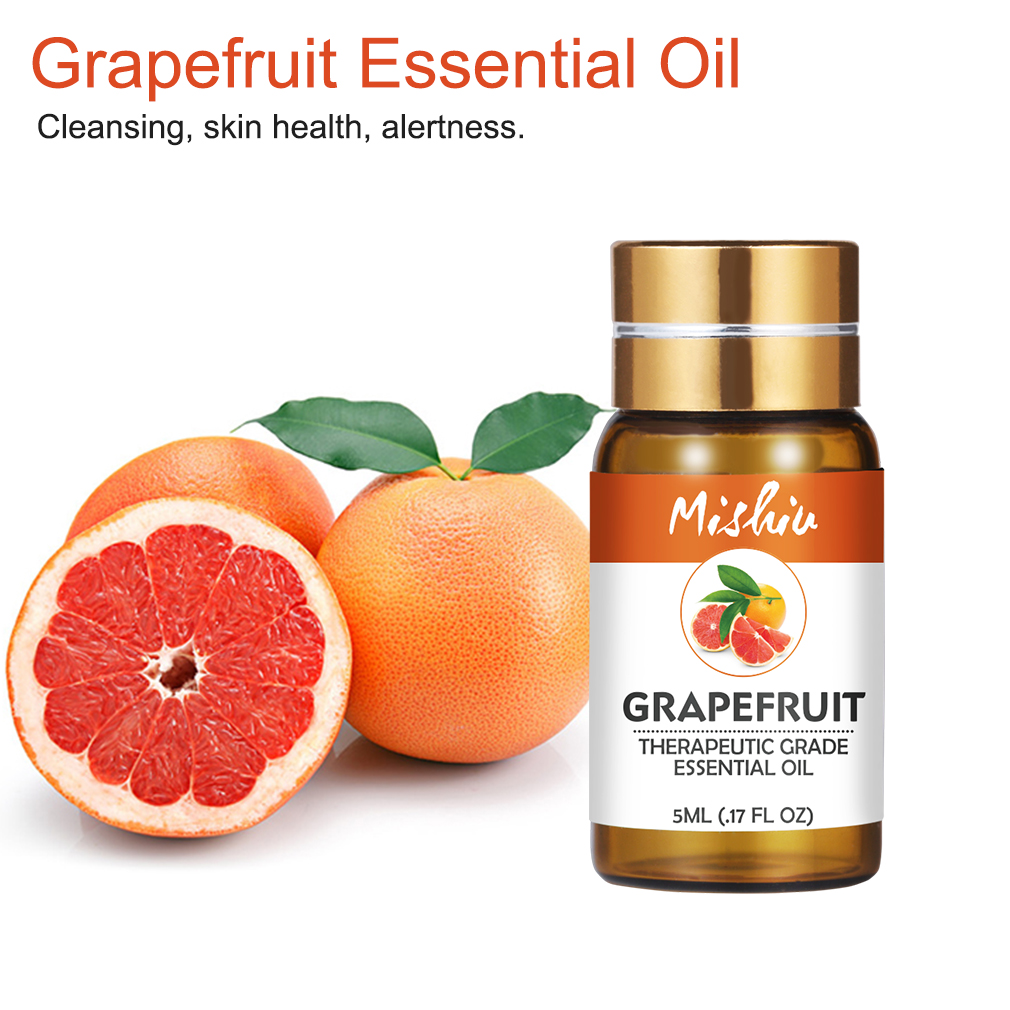 Mishiu 5ML Grapefruit Essential Oil Cleansing,Skin Health,Alertness,Anti-depression Relieve Stress Organic Body Massage Relax