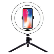Table Lamp for Live led light ring for makeup Black Color adjustable Lighting With Phone clip 3 Color Dimmable Light For Beauty(China)
