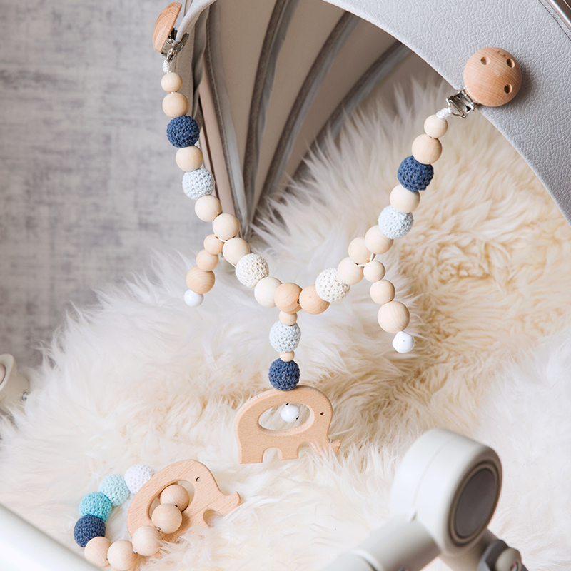 Baby Toy Wooden Pram Clip Mobile Bed Holder Gym Baby Music Rattle Stroller Chain Plush Animals Unicorn Newborn Teething Bracelet
