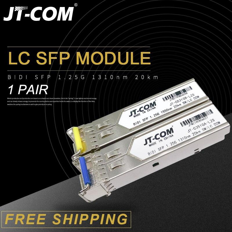 1 paire 1.25G SM BiDi LC Gigabit SFP Module 1310nm/1550nm 3-80km émetteur-récepteur à fibers optiques sfp commutateur Compatible avec Mikrotik/Cisco