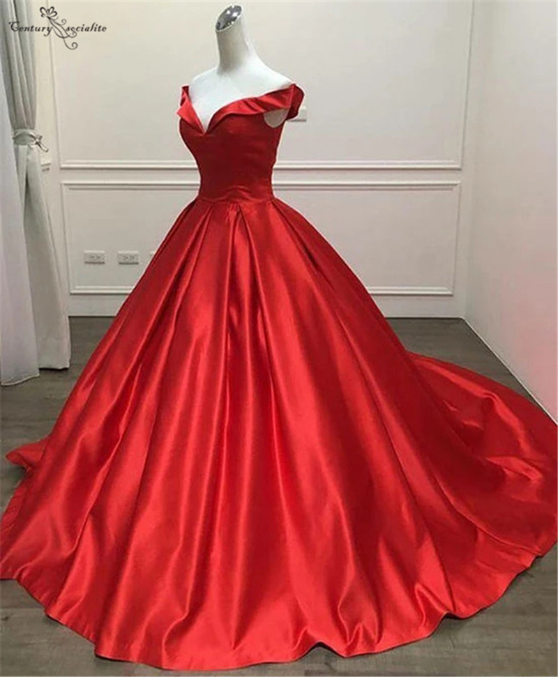 Sweet 16 Dress Red Quinceanera Dresses 2020 Off Shoulder Satin Ball Gown Birthday Party Gowns Vestido De Debutante