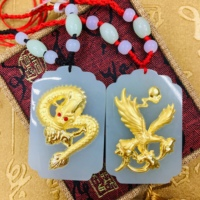 natural Hetian white jade inlaid 24K gold dragon and phoenix pair pendant with handmad 4000832904570