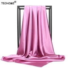 Женский хиджаб шарф мода искусственный шелк, Атлас шарфы для женщин большой квадратный мусульманский платок шарфы с 90x90cm