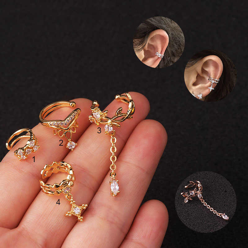 1pc Vintage Cross Ear Cuff Ear Clip and Stud Earring for Men Women Steel with Chain and Black CZ