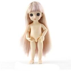 1/8 moda bebê bjd sd boneca com cachos cabelo reto 13 moveable articulado 3d olhos nu corpo feminino boneca presente para meninas norma