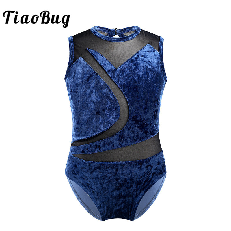 Kids Dancewear Sleeveless Soft Comfortable Pleuche Mesh Splice Professional Ballet Gymnastics Leotards For Girls Dance Costume