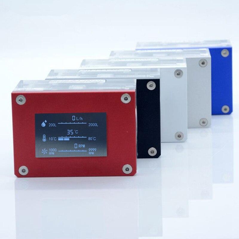 LSJ-ZN DIY Water-cooled Water Flow Meter Flow Meter Water Flow Speed Temperature Detection Flow Meter