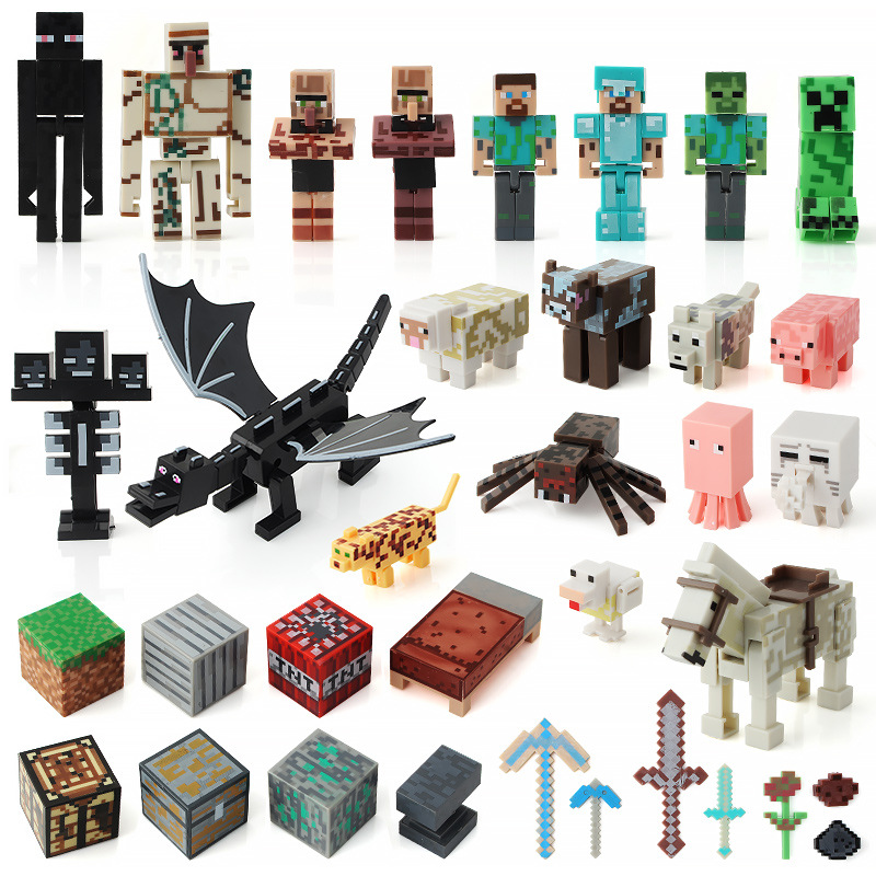2019 Hot Toys Computer Game Cartoon Blocks Diy Toy Dolls Action Figures Birthday Toys Children Anime Collection Model Figure Set