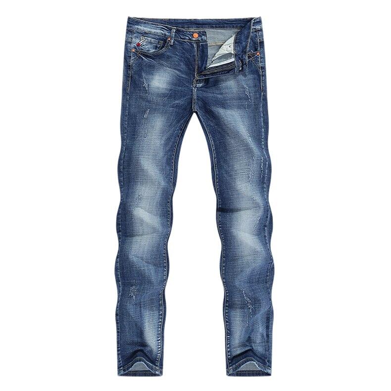 Jeans Men Light Blue Stretch Slim Straight Regular Fit Casual Jeans Male Denim Pants Male Long Trousers Top Quality Plus Size 40 11