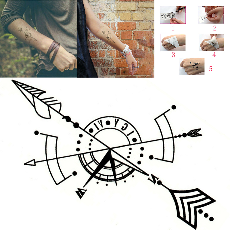 Black Temporary Tattoo Geometric Compass Arrow Waterproof Creative Fake Body Art Tattoo Sticker for Arms/Back/Sternum/Legs 3