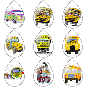 TAFREE Hippe Peace Van Bus and Bicycle 18x25mm Handmade Tear Drop Shape Glass Cabochon Dome Flat Back Jewelry Making H198 image
