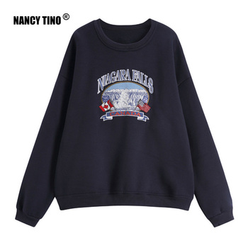 NANCY TINO Spring and Autumn Fashion Ladies Soft Thick Pullover Loose Polyester Long Sleeve Hoodie
