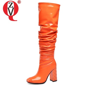 ZVQ winter new fashion knee high boots outside sexy super high heels square toe party women shoes drop shipping size 33-45