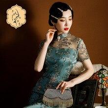 Plus Size 2021 New Dark Green Lady Satin Cheongsam Waist Improvement Version Daily Catwalk Photo Banquet Wear Chinese Dress