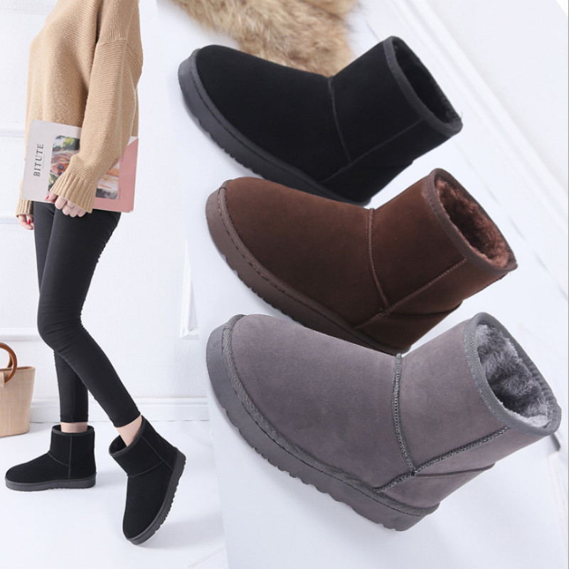Snow Boots Woman 2019 Winter Women Ankle Boot Korean Fashion Plus Size Non-slip Flat Booties Keep Warm Ladies Shoes Botas mujer