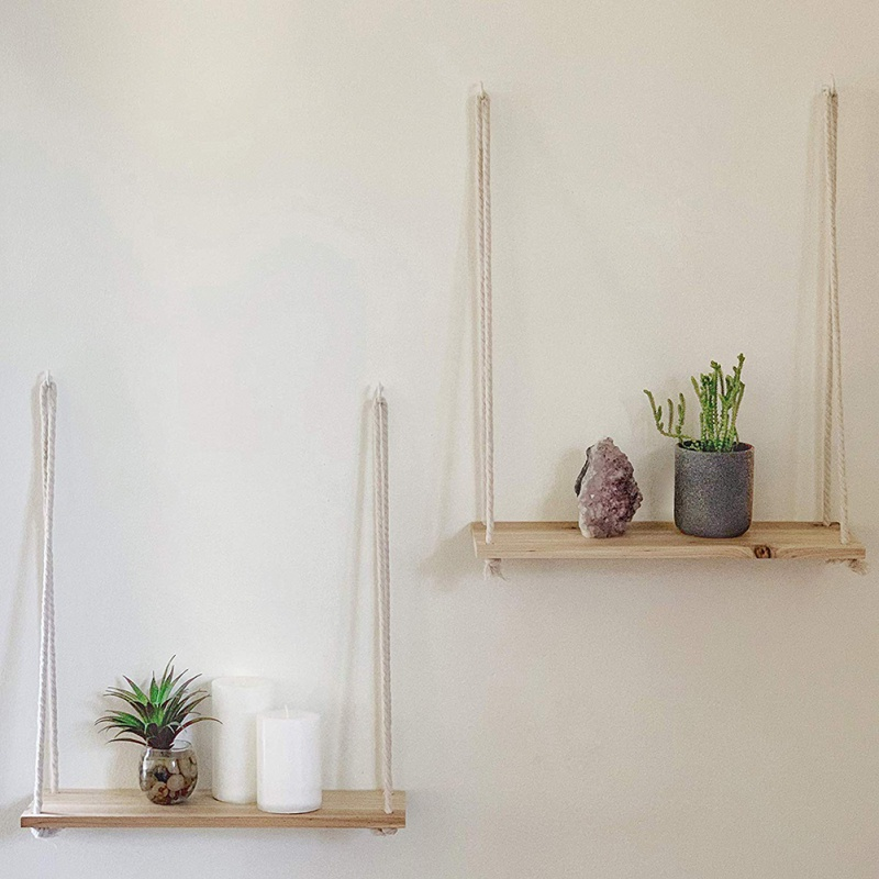 Hanging Wooden Plant Shelf Small Household Parts Storage Rack Wall Rope Hanging Shelf Bedroom Living Room Office DecorationCMMA