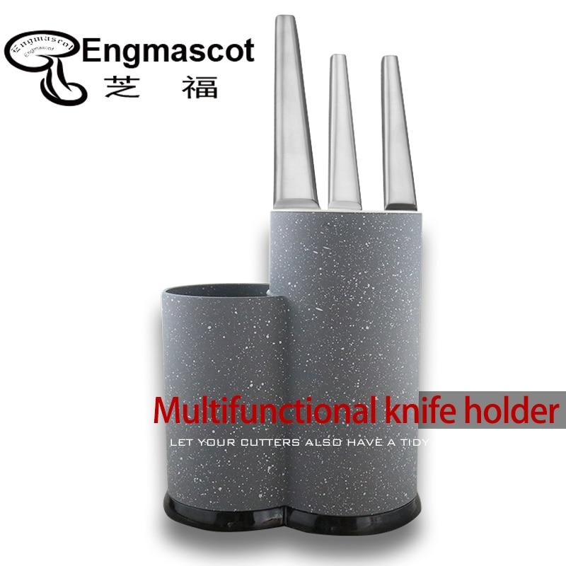Engmascot Double Round Plastic Universal Knife Holder Kitchen Optional Inserted Holder Multifunctional Storage Holder