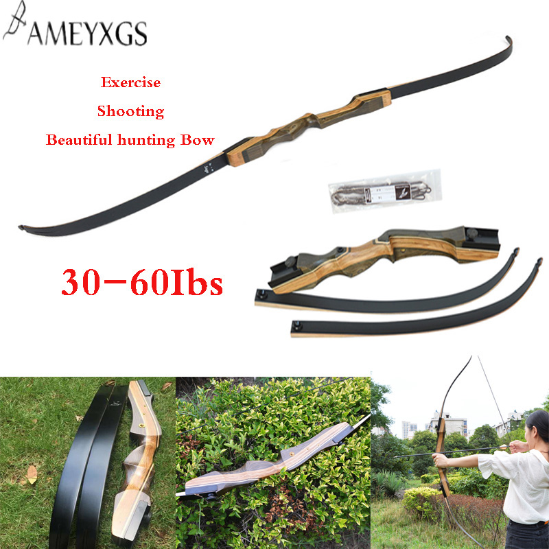 1 PCS Archery Recurve Bow 62 Inches 30-60Ibs For Hunting Shooting Practice Accessories