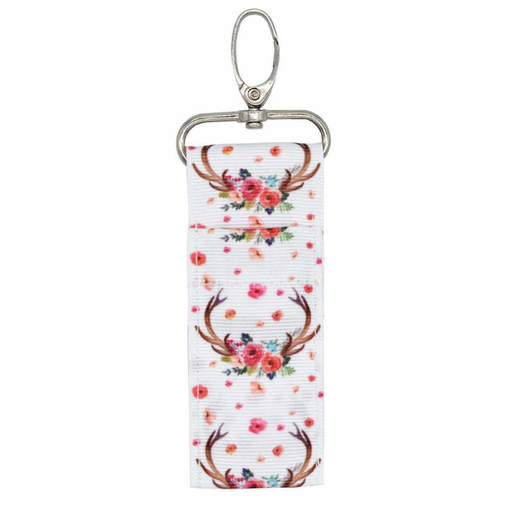 الكمال تخزين حامل أحمر الشفاه كيس مزموم حلقة رئيسية الطباعة سلسلة مفاتيح هدية فتاة # T2